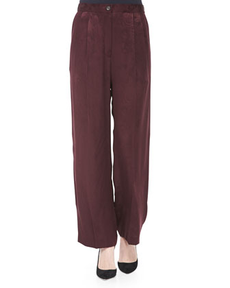 Botanical-Brocade Wide-Leg Pants, Mulberry
