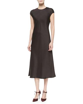 Raglan Cap-Sleeve Liquid Dress, Espresso