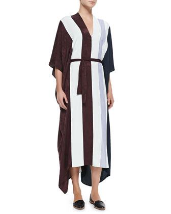 Mixed-Media V-Neck Caftan Dress