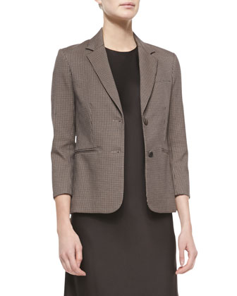 Pied de Poule Plaid Jacket, Tannin/Black