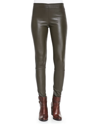 Cashmere V-Neck Easy Pullover Sweater & Leather Pull-On Moto Pants