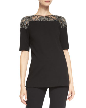 Elbow-Sleeve Embroidered-Top Blouse