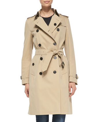 Near-Knee-Length Double-Breasted Trench Coat, Honey