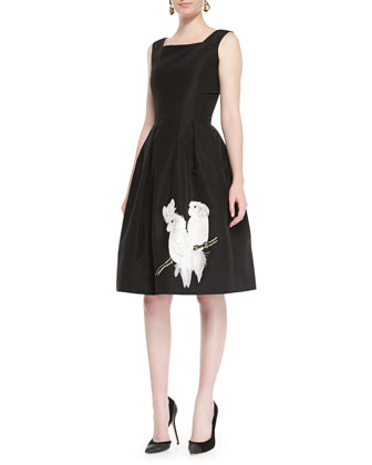 Parrot Embroidered Cocktail Dress, Black