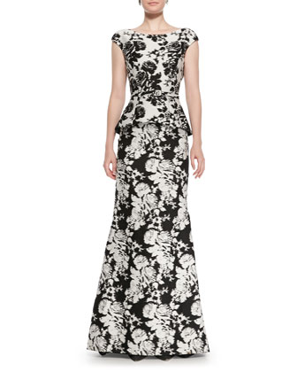 Cap-Sleeve Abstract Floral Gown, White/Black