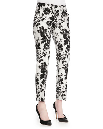 Abstract Floral Cropped Pants, White/Black