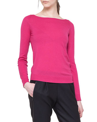 Long-Sleeve Contrast-Zip Top and Slim Pleated Jogging Pants