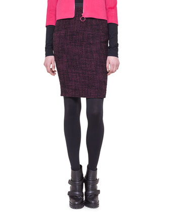 Tweed Neoprene-Waist Pencil Skirt