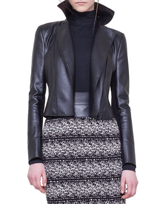 Faux-Leather and Jersey Moto Jacket, Mock-Neck Top & Jersey Jacquard Tweed ...