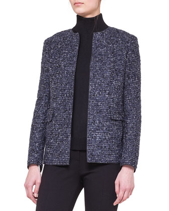 Collarless Boucle Jacket, Two-Tone Turtleneck & Stretch Jersey Skinny Pants