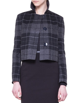 Cropped Check Jacket and Jersey Pencil Skirt