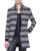 Jersey Tweed Drawstring-Collar Jacket