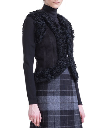 Shearling-Trim Suede Gilet, Two-Tone Turtleneck & Pleat-Detail Check Skirt