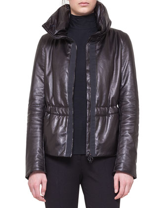 Leather Zip Puffer Parka