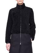 Mixed-Media Shearling Fur Coat