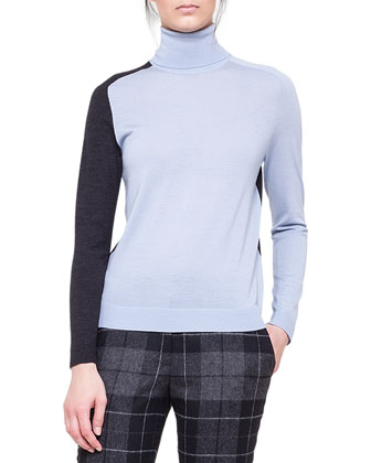 Colorblock Merino Turtleneck Sweater