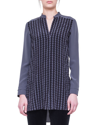 Dot-Applique Silk Tunic and Stretch Jersey Skinny Pants
