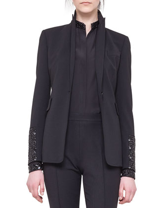 Embellished-Sleeve Cocktail Jacket