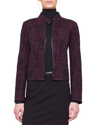 Tweed Band-Collar Jacket and Stretch Jersey Skinny Pants