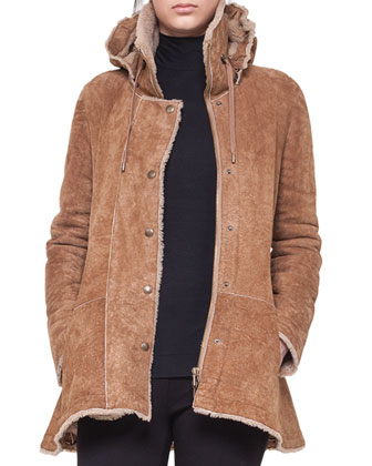 Shearling Coat with Peplum and Detachable Hood