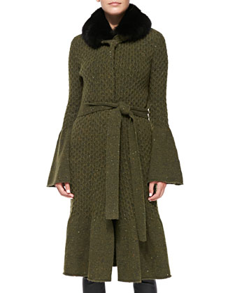 Long Coat with Fox Fur Collar & Virgin Wool Knit Shell