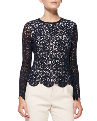 Long-Sleeve Scalloped Lace Blouse, Navy
