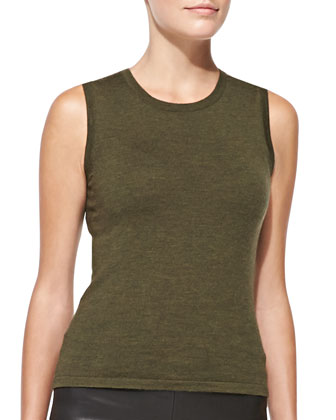 Virgin Wool Knit Shell, Olive