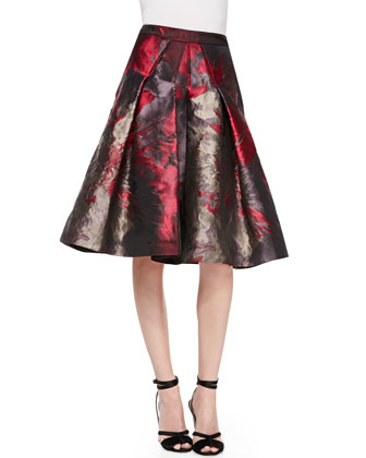 Long-Sleeve Collared Silk Button-Up Blouse & Flared Floral Skirt