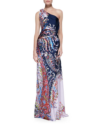 Printed Satin One-Shoulder Gown, Navy/Multi