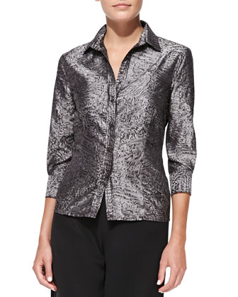 Long-Sleeve Button-Up Blouse, Gray/Black