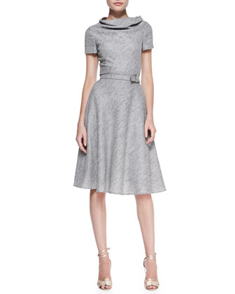 Short-Sleeve Cowl-Neck Dress