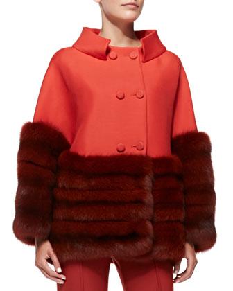 Sable Fur-Trim Swing Coat, Lava Red
