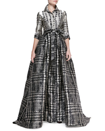3/4-Sleeve Houndstooth Shirtwaist Ball Gown, Gray/Beige