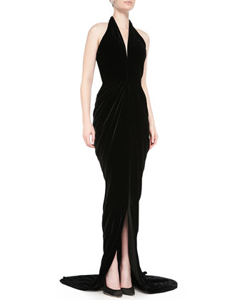 Velvet Halter Evening Dress