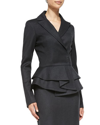 Long-Sleeve Ruffle Peplum Jacket, Charcoal