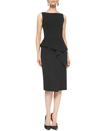 Sleeveless Peplum Dress, Charcoal