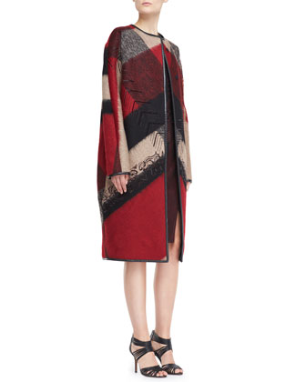 Embroidered Abstract-Plaid Wool-Blend Coat & Sleeveless Dress with Sheer Detail