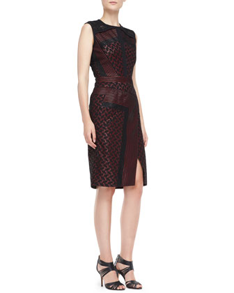 Sleeveless Dress with Sheer Detail, Ruby/Noir