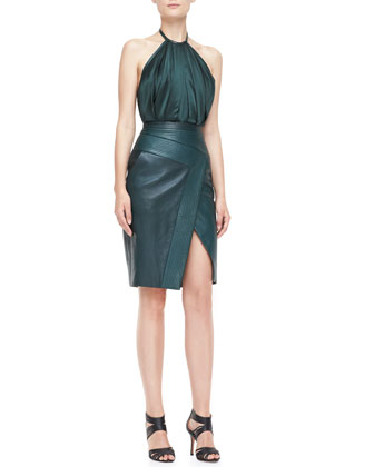 Halter Leather Combo Sheath Dress