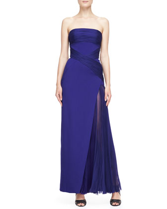 Strapless Ruched-Detail Gown