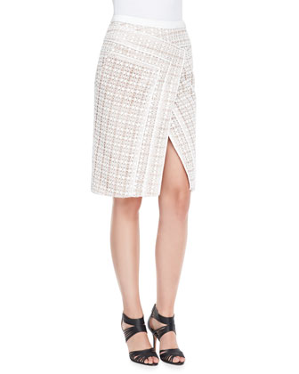 Lace V-Neck Top and Asymmetric Crossover Skirt