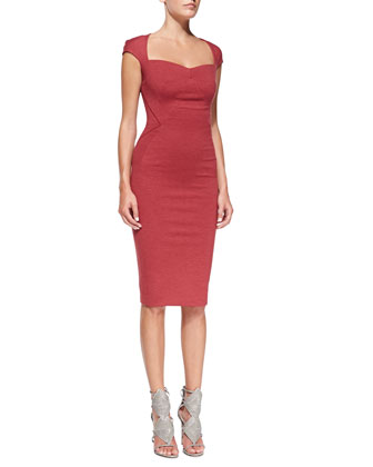 Cap-Sleeve Bandage Sheath Dress