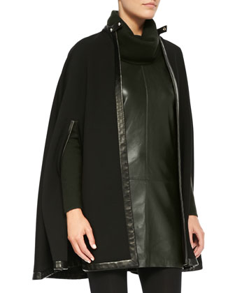 Garner Leather-Trim Cape