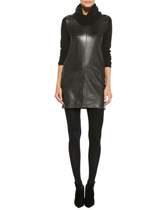 Long-Sleeve Leather-Front Dress