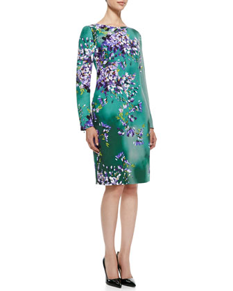Long-Sleeve Floral Silk Sheath Dress