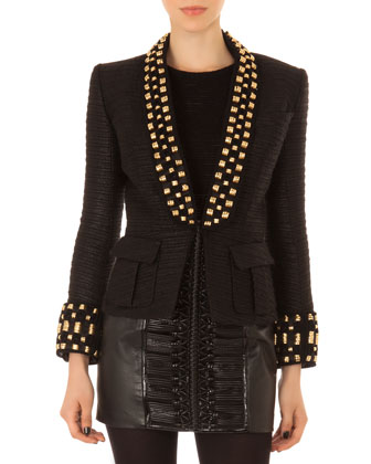 Embellished Short Tuxedo Jacket, Sheer-Stripe Top & Leather Laced-Front Skirt