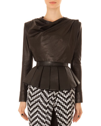Leather Drape-Neck Crop Top, Pleated Leather Peplum Bustier & Chevron Tweed ...
