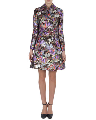 Metallic Butterfly Brocade Coatdress