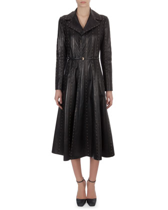 Long Studded Paneled Leather Trench Coatdress, Black