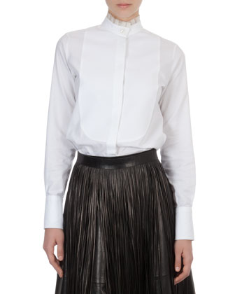 Organza-Collar Cotton Blouse